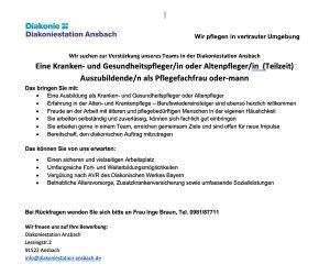 Das Team der Diakoniestation Ansbach sucht Verstärkung!